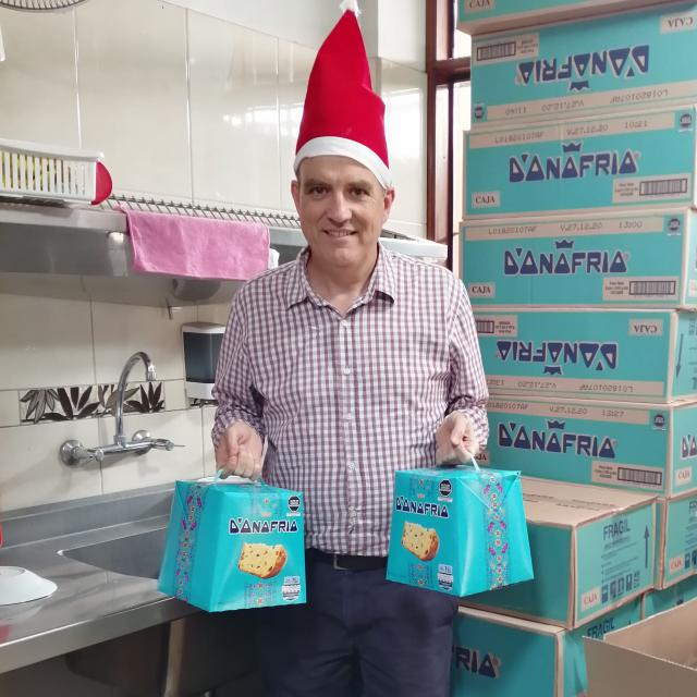 David MacPherson with donated panettones