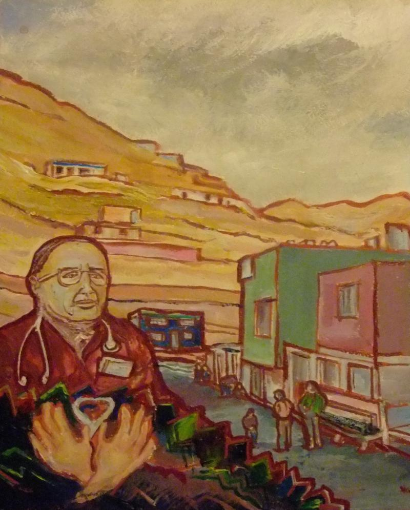 Painting of Dr. Luis Campos in Collique, Peru