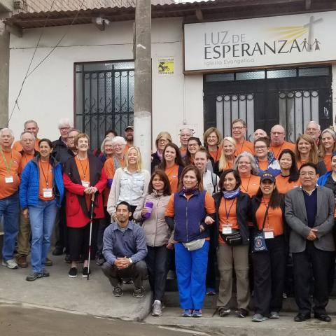 OSA volunteers outside Luz de Esperanza church in Collique